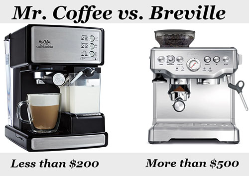 mr coffee vs breville espresso maker